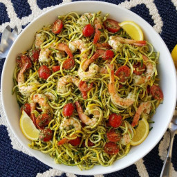 Fresh Pesto, with Shrimp and Zoodles