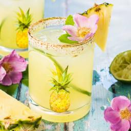Fresh Pineapple Margaritas with Sweet and Spicy Rim Salt