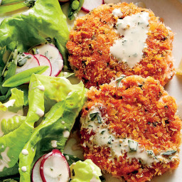 Fresh Salmon Cakes with Buttermilk Dressing Recipe