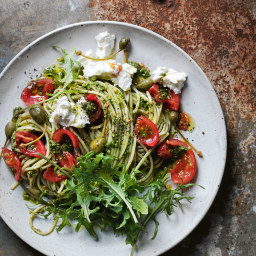 Fresh Tomato, Kale and Caper Berry Pasta