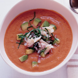 Fresh Tomato Soup with Crab Guacamole
