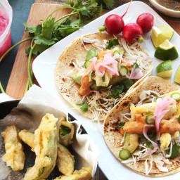 Fried Avocado Tacos With Chipotle Cream, Cabbage, and Pickled Red Onions Re