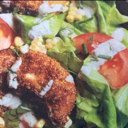 Fried Chicken Salad with Buttermilk Dressing