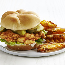 Fried Chicken Sandwiches with Waffle Fries