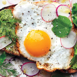 Fried Egg on Toast with Salted Herb Butter and Radishes recipe | Epicurious