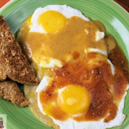 Divorced eggs (Fried eggs in arbol and chipotle sauce)
