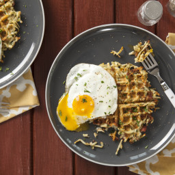 Fried Eggs with Bacon-Cheese Hash Brown Waffles