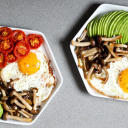 Fried Eggs With Slow-Roasted Tomatoes, Avocado, and Mushrooms
