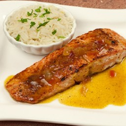 Fried Fish (Salmon) With Orange Sauce