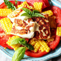 Fried Halloumi Cheese with Corn and Tomatoes