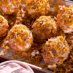 Fried Ice Cream with Cereal Crust