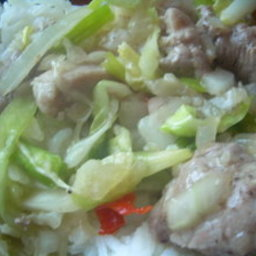 Fried Pork with Cabbage and Chillis