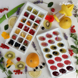 Fruit and floral ice cubes