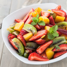 Fruit Salad with Kiwi, Strawberries, and Mango