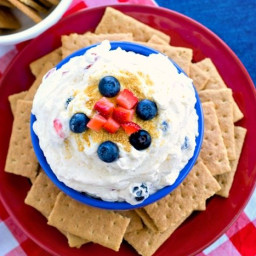 Fruit Spangled Cheesecake Dip + Red, White and Blue Blog Hop