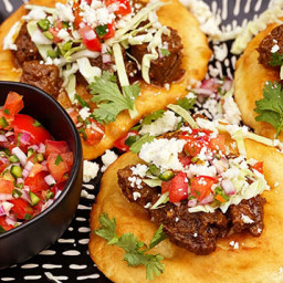 Fry Bread Tacos with Hatch Chile Braised Wagyu Beef