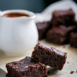 Fudgy Flourless Hazelnut Brownies with a Hot Chocolate Fudge Sauce