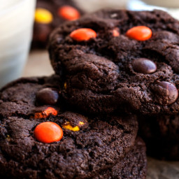 Fudgy Reese's Pieces Chocolate Cookies