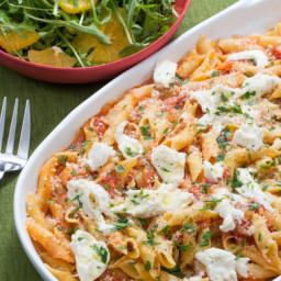 Garganelli Pasta and Tomato Saucewith Fresh Mozzarella and Arugula-Orange S
