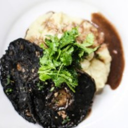 Garlic and Thyme Roasted Portobello Mushrooms with Parmesan Mashed Potato a