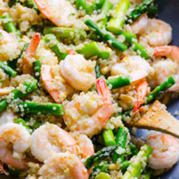 Garlic Butter Shrimp, Quinoa and Asparagus