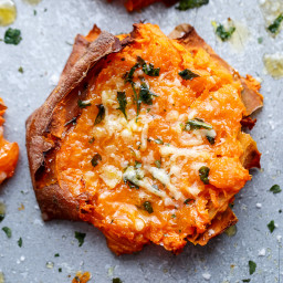 Garlic Butter Smashed Sweet Potatoes With Parmesan Cheese