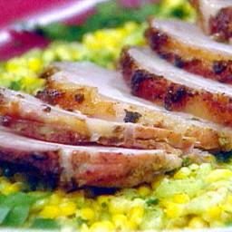 Garlic Crusted Sliced Pork Loin with Fresh Succotash