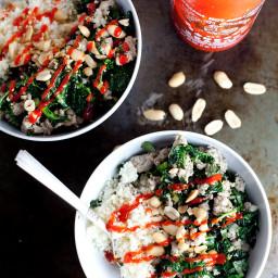 Garlic Ginger Kale Bowl with Cauliflower Rice