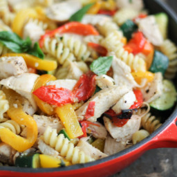 Garlic Parmesan Pasta with Chicken and Roasted Bell Peppers