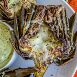 Garlic Roasted Artichokes with Pesto Dipping Sauce