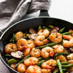 Garlic Shrimp Asparagus Skillet