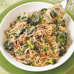Garlicky Angel Hair with Roasted Broccoli