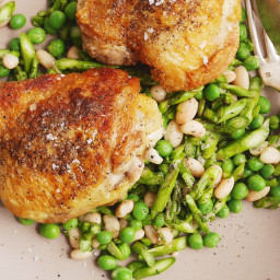 Garlicky Chicken Thighs with Asparagus, Pea, and White Bean Salad
