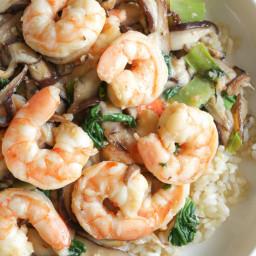 Garlicky Shrimp Stir-frywith Shiitakes and Bok Choy