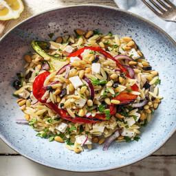 Gefüllte Paprika nach griechischer Art mit Orzonudeln, Minzjoghurt und grie
