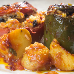 GEMISTA Stuffed Tomatoes And Peppers With Rice Greek Tradition