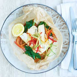 Ginger and soy sea bass parcels
