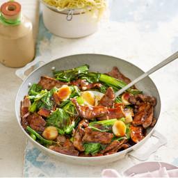 Ginger beef, choy sum & water chestnut stir-fry