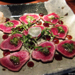 Ginger Beef Tataki with Lemon-Soy Dipping Sauce