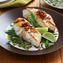 Ginger chilli fish with herbed rice and Asian greens