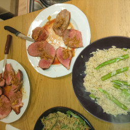 Ginger Duck Breast with Wild Rice And Asparagus
