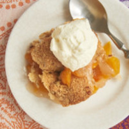 Ginger Pecan Peach Cobbler