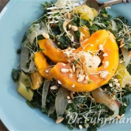 Ginger Poached Butternut Squash Salad with Kale, Bean Sprouts and Warm Ging