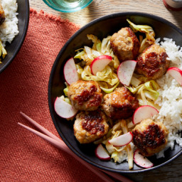 Ginger Pork Meatballs with Cabbage & Jasmine Rice