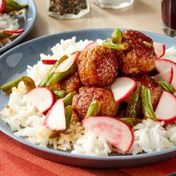 Ginger Pork Meatballswith Yakiniku Sauce and Green Beans