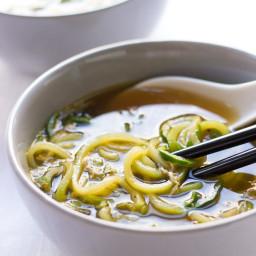 Ginger-Scallion Egg Drop Zucchini Noodle Soup