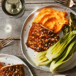 Ginger-Soy Barramundi with Miso Mashed Sweet Potatoes & Roasted Bok Cho