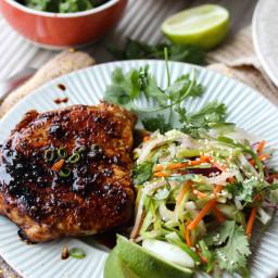 Ginger-Soy Glazed Pork Chops with Asian Pear Slaw