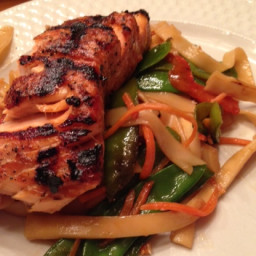 Ginger-Soy Salmon  and  Asian Noodles