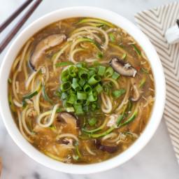 Ginger zucchini noodle egg drop soup